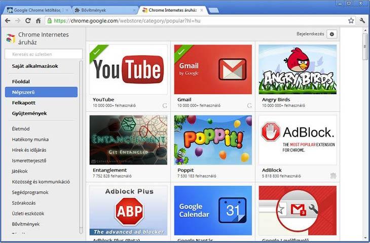 Google Chrome internetes áruház