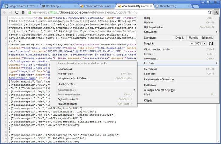 Google Chrome forráskód nézet