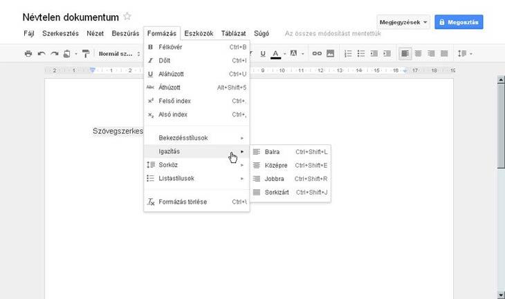 Google Dokumentumok szövegszerkesztő