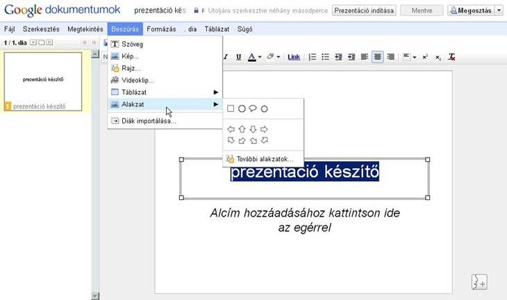 Google Dokumentumok prezentáció