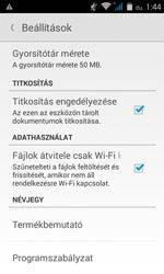 Beállítások, titkosítás, és átvitel csak Wi-Fi-n