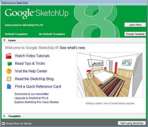 Google SketchUp template vagy tanulás