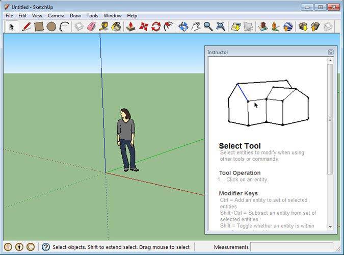 Google SketchUp oktató ablak
