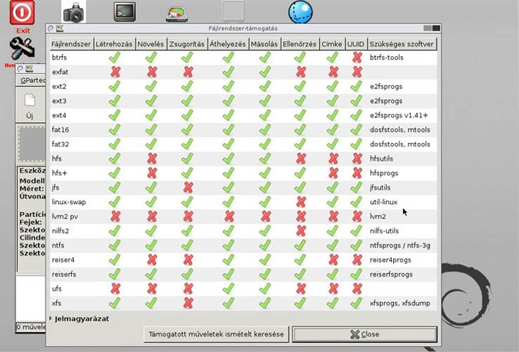GParted fájlrendszerek, műveletek
