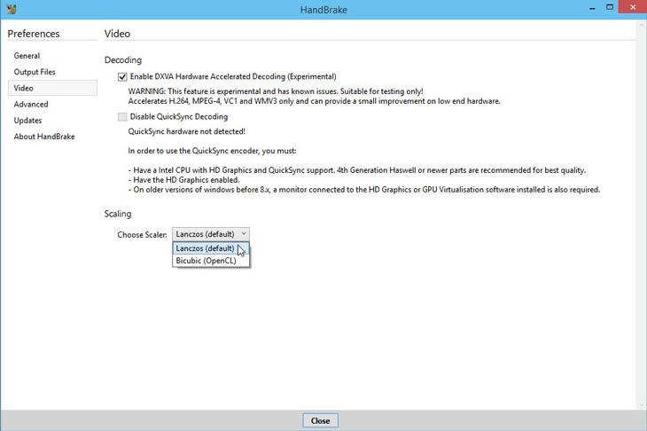 HandBrake beállítások Windows 10