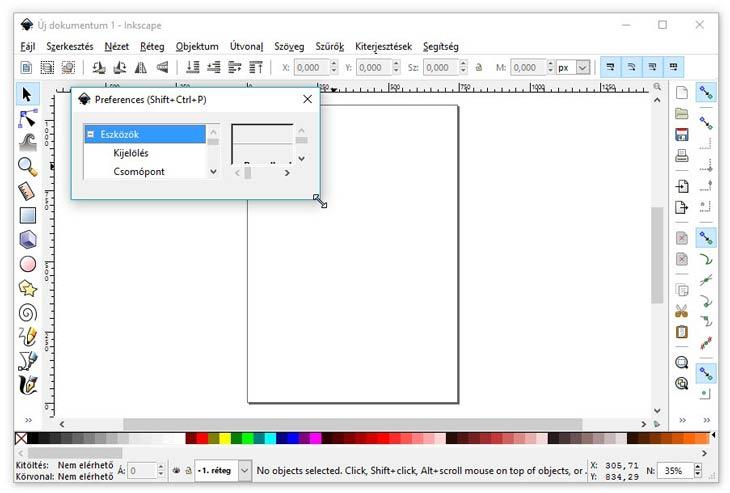 Inkscape beállítások picike