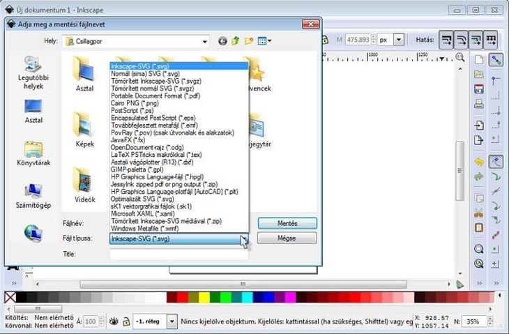 Inkscape fájlformátumok