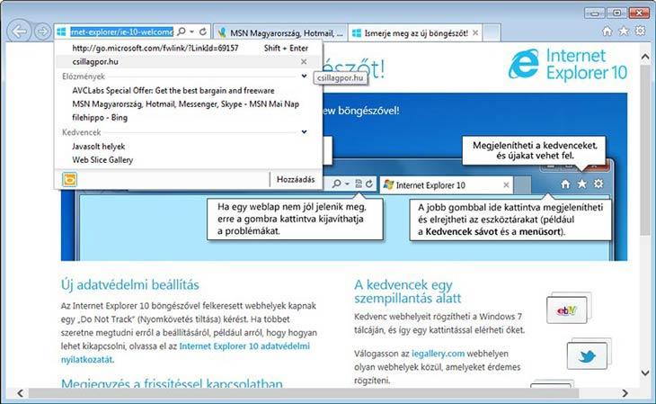 Internet Explorer 10 címsor