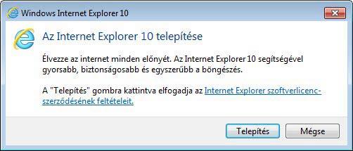 Internet Explorer 10 telepítés