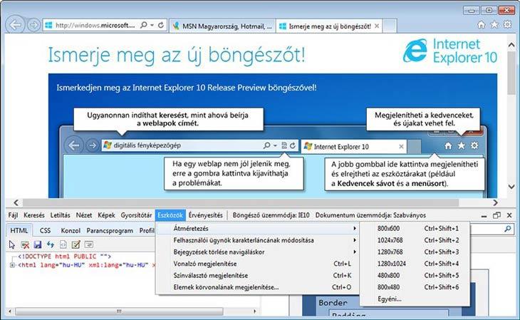 Internet Explorer 10 eszközök