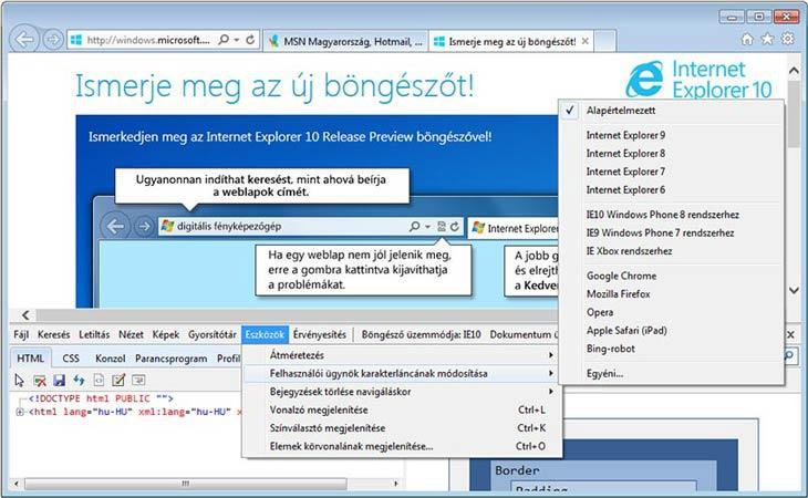 Internet Explorer 10 ügynök