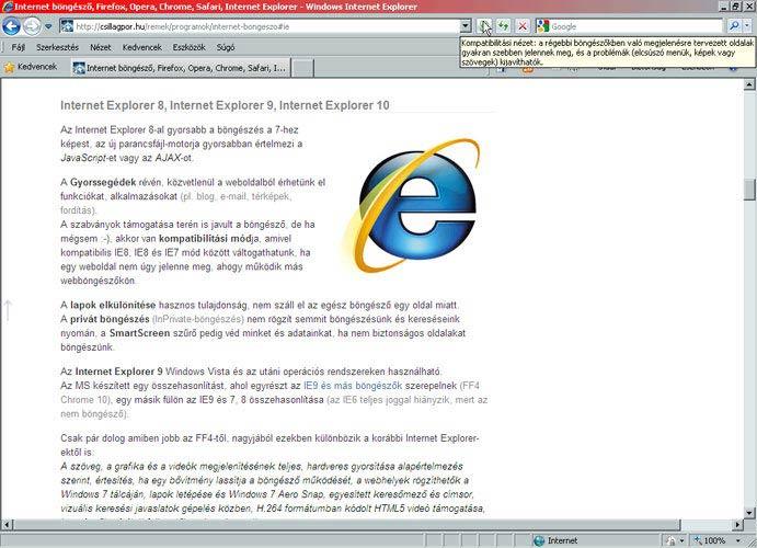 Internet Explorer 8 kompatibilitás