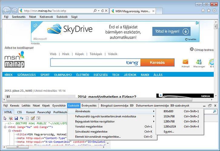 Internet Explorer 9 fejlesztés