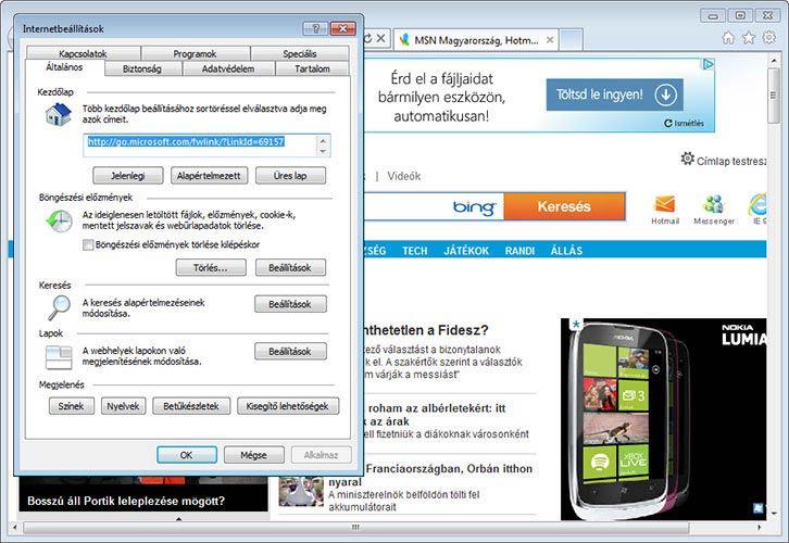 Internet Explorer 9 beállítások