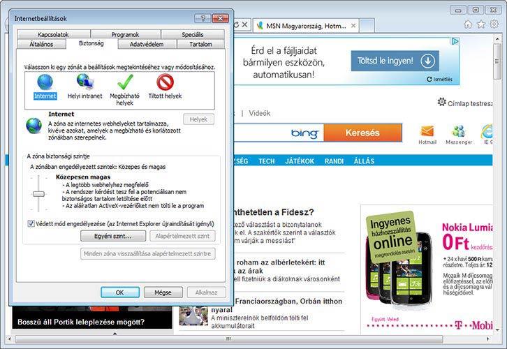 Internet Explorer 9 biztonság