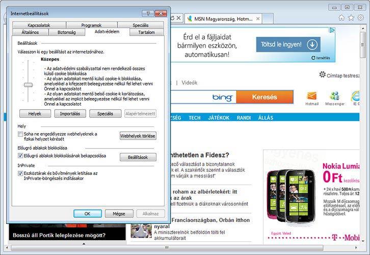 Internet Explorer 9 adatvédelem