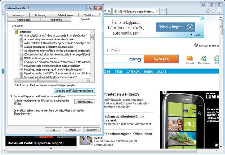 Internet Explorer 9 speciális
