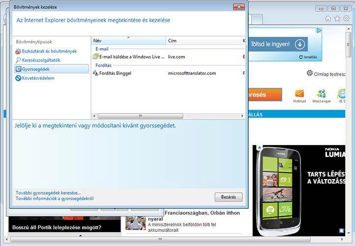Internet Explorer 9 bővítmények