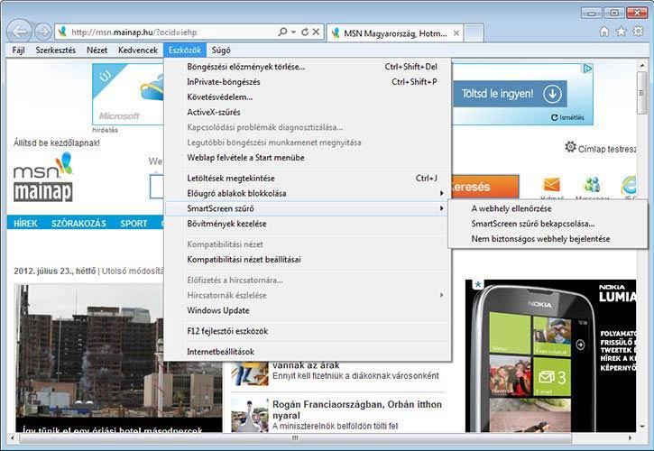 Internet Explorer 9 eszközök