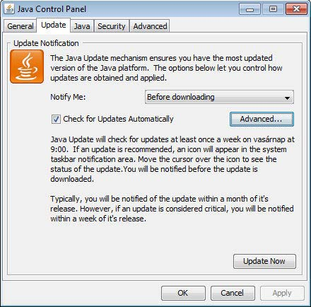 Java JRE frissítés