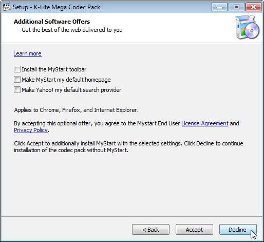 K-Lite Mega Codec Pack eszköztárak