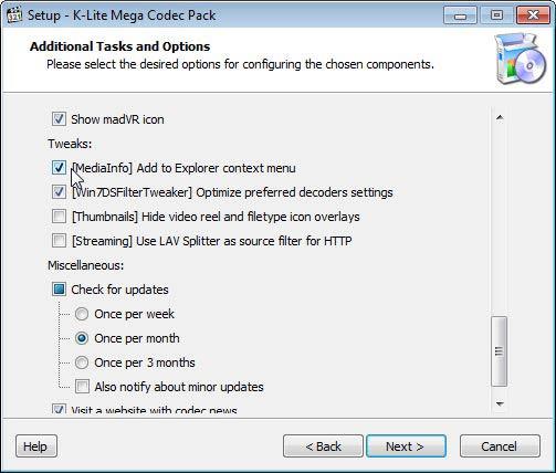 K-Lite Mega Codec Pack context menu