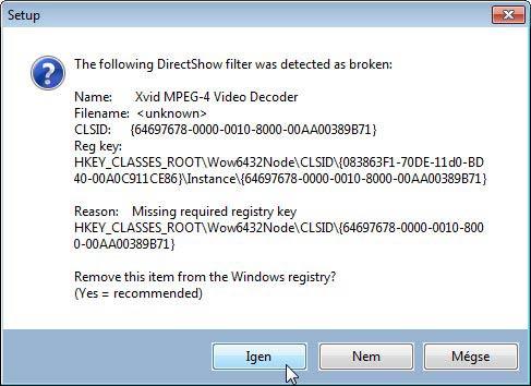 K-Lite Mega Codec Pack hibák