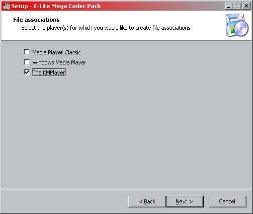 K-Lite Mega Codec Pack fájl társítás