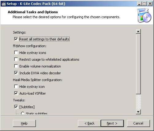 K-Lite Codec Pack 64-bit beállítások