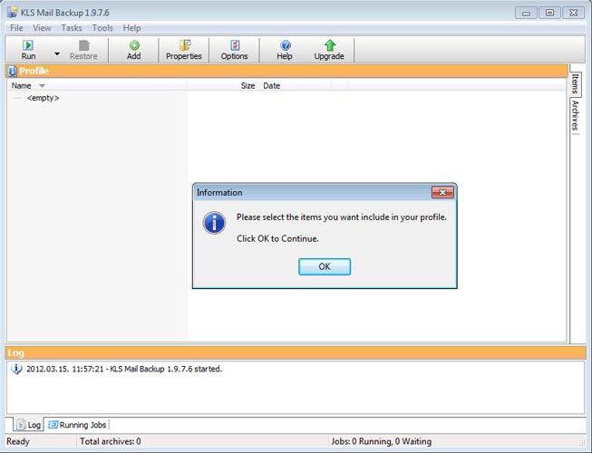KLS Mail Backup profil