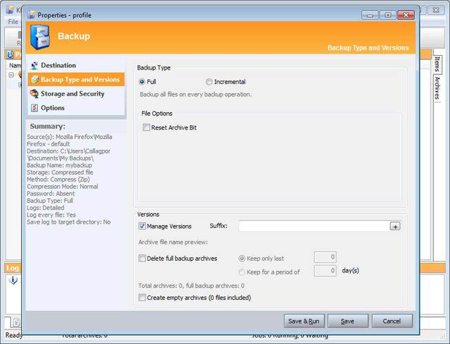 KLS Mail Backup, teljes vagy növekményes