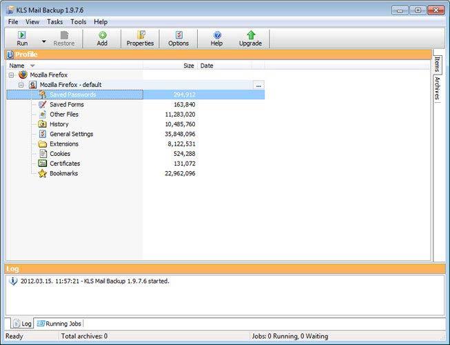 KLS Mail Backup Firefox mentés