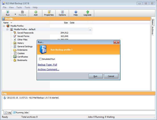 KLS Mail Backup szimuláció