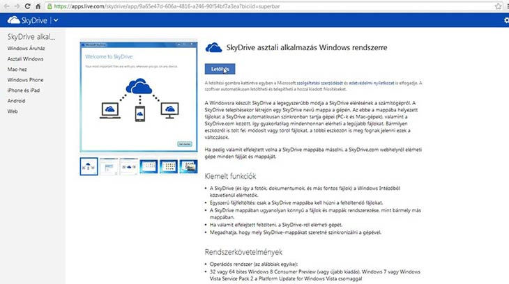 SkyDrive telepítés Windowsra