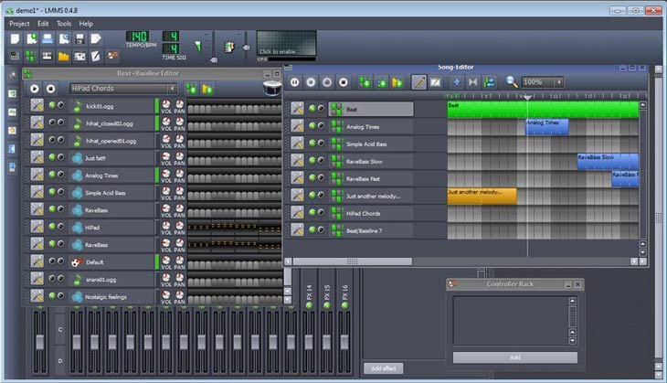 LMMS – Linux MultiMedia Studio Song Editor