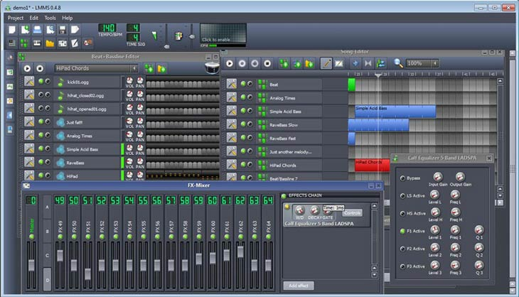 LMMS – Linux MultiMedia Studio FX-Mixer