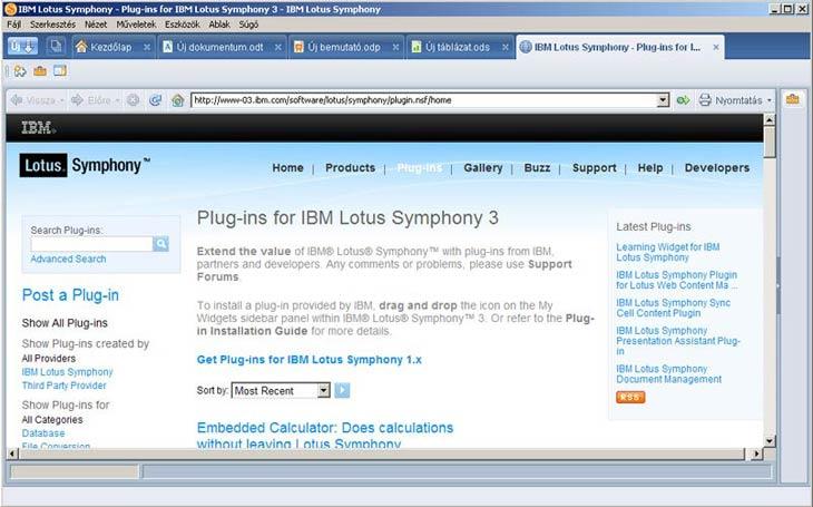 Lotus Symphony pluginek