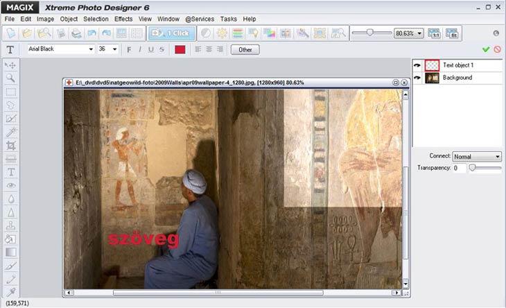 MAGIX Xtreme Photo Designer szöveg