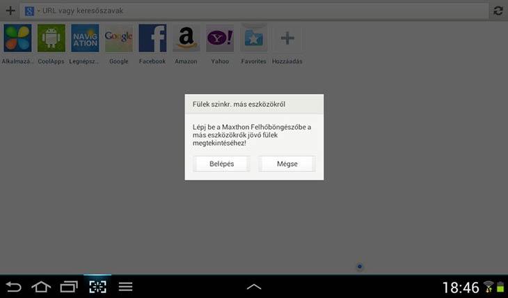 Maxthon for Android szinkronizálás