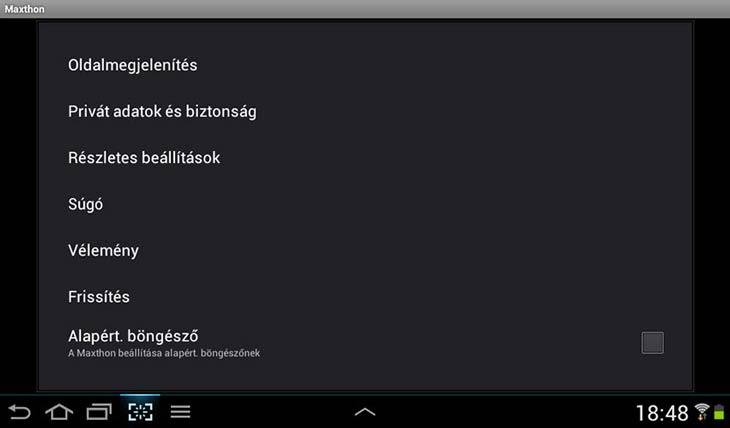 Maxthon for Android beállítások