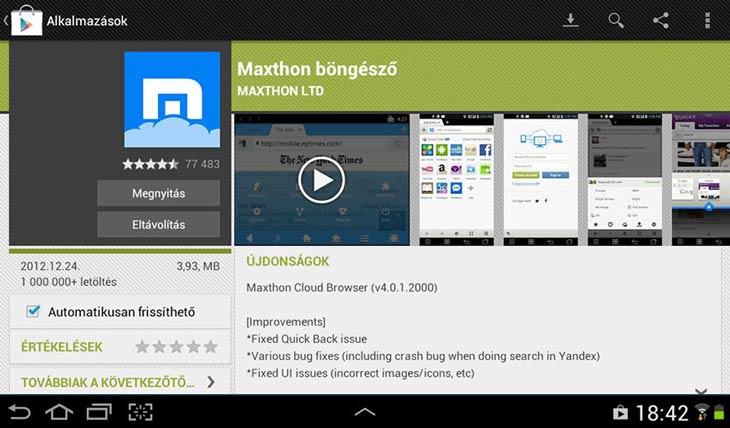 Maxthon for Android frissíthető