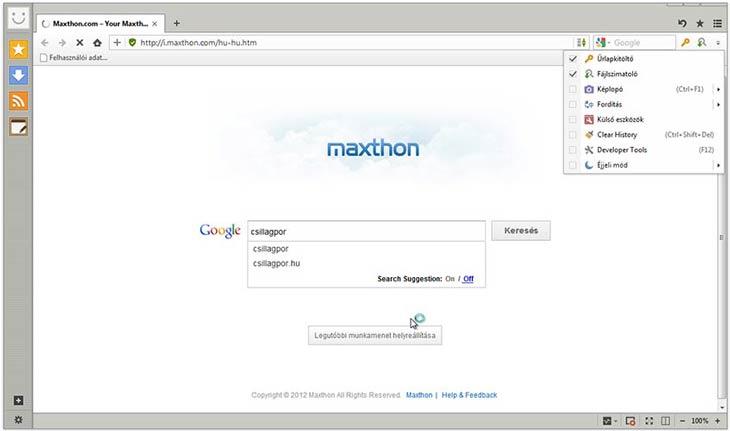 Maxthon eszközök