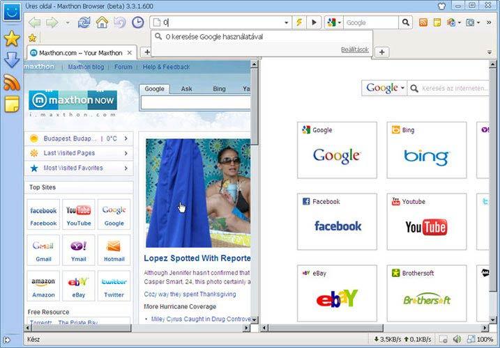 Maxthon osztott képernyő