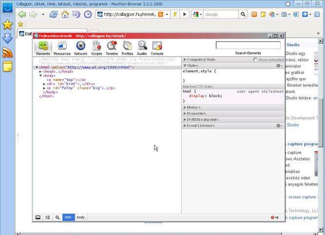Maxthon fejlesztőeszközök