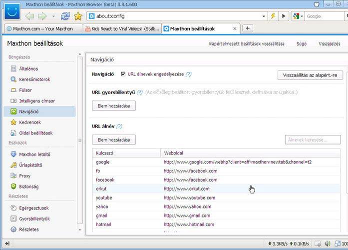 Maxthon URL navigáció