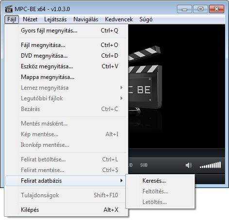 Media Player Classic - BE fájl