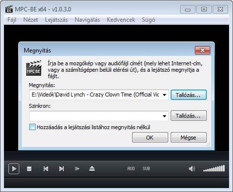 Media Player Classic - BE megnyitás