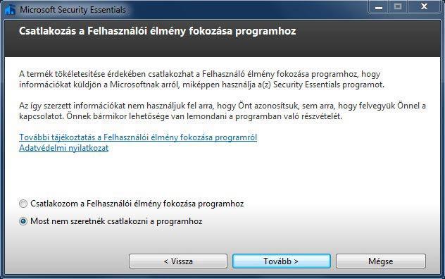 Microsoft Security Essentials telepítés