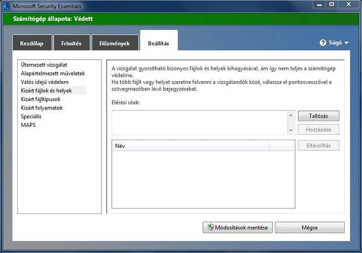Microsoft Security Essentials kizárt