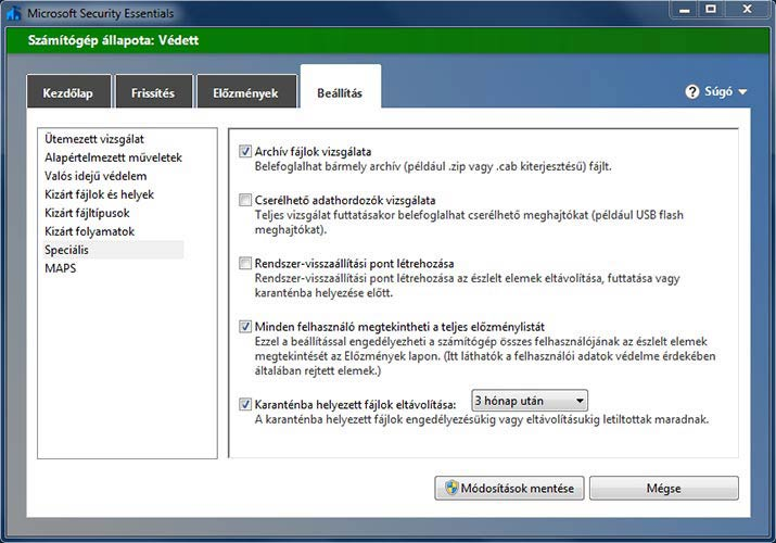 Microsoft Security Essentials speciális